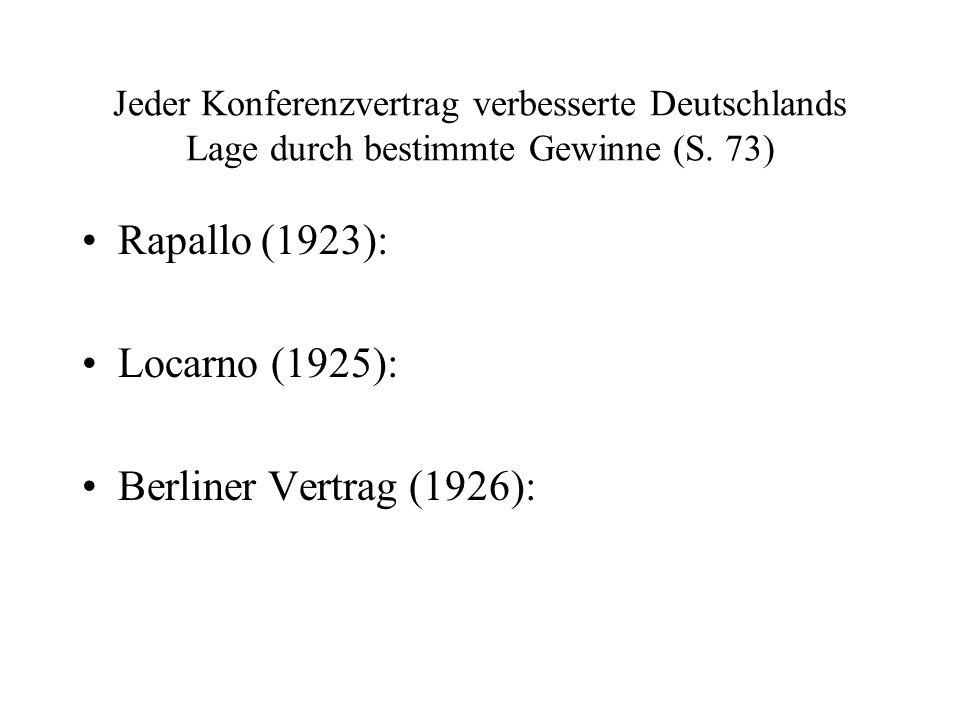 Jeder Konferenzvertrag verbesserte Deutschlands Lage durch bestimmte Gewinne (S. 73) Rapallo (1923): Locarno (1925): Berliner Vertrag (1926):
