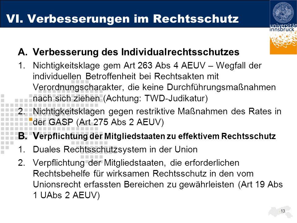 VI. Verbesserungen im Rechtsschutz A.Verbesserung des Individualrechtsschutzes 1.Nichtigkeitsklage gem Art 263 Abs 4 AEUV – Wegfall der individuellen