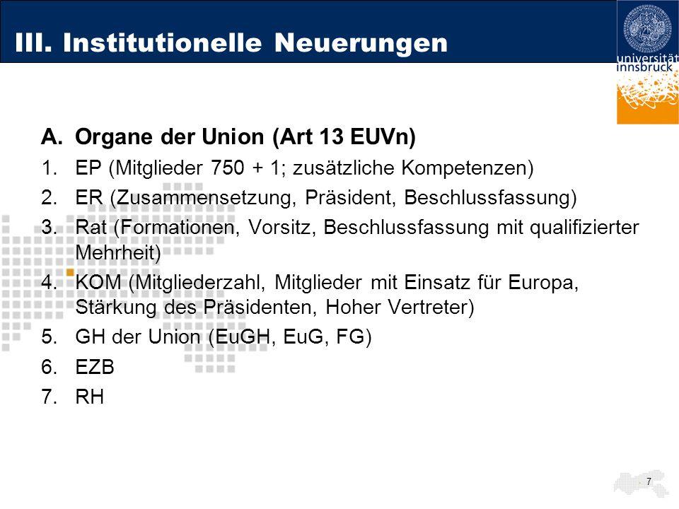 III. Institutionelle Neuerungen A.Organe der Union (Art 13 EUVn) 1.EP (Mitglieder 750 + 1; zusätzliche Kompetenzen) 2.ER (Zusammensetzung, Präsident,