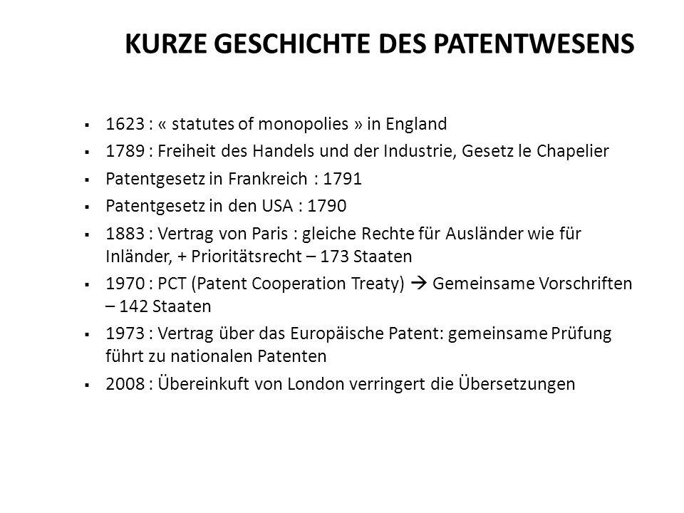 1623 : « statutes of monopolies » in England 1789 : Freiheit des Handels und der Industrie, Gesetz le Chapelier Patentgesetz in Frankreich : 1791 Pate