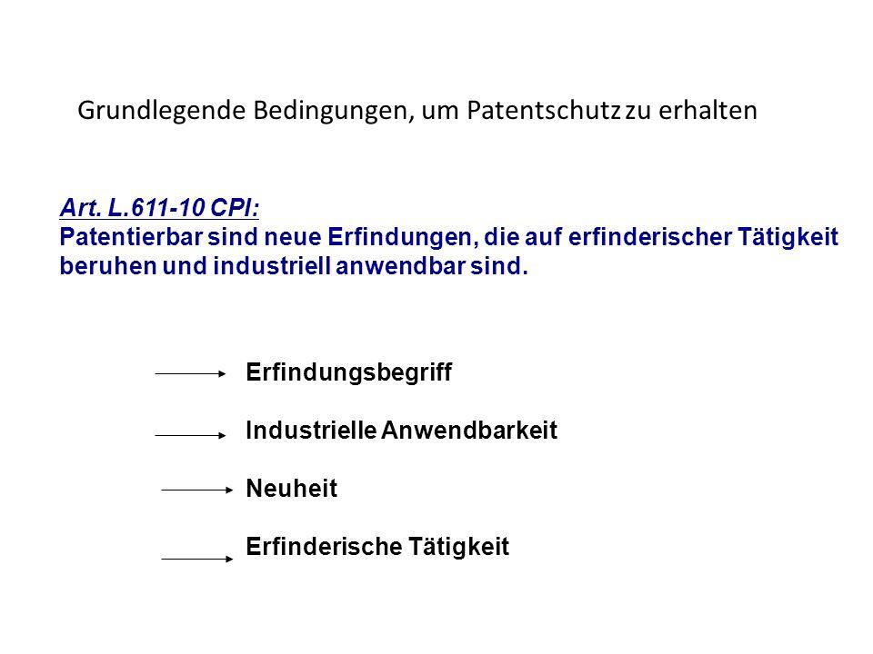 Grundlegende Bedingungen, um Patentschutz zu erhalten Art. L.611-10 CPI: Patentierbar sind neue Erfindungen, die auf erfinderischer Tätigkeit beruhen