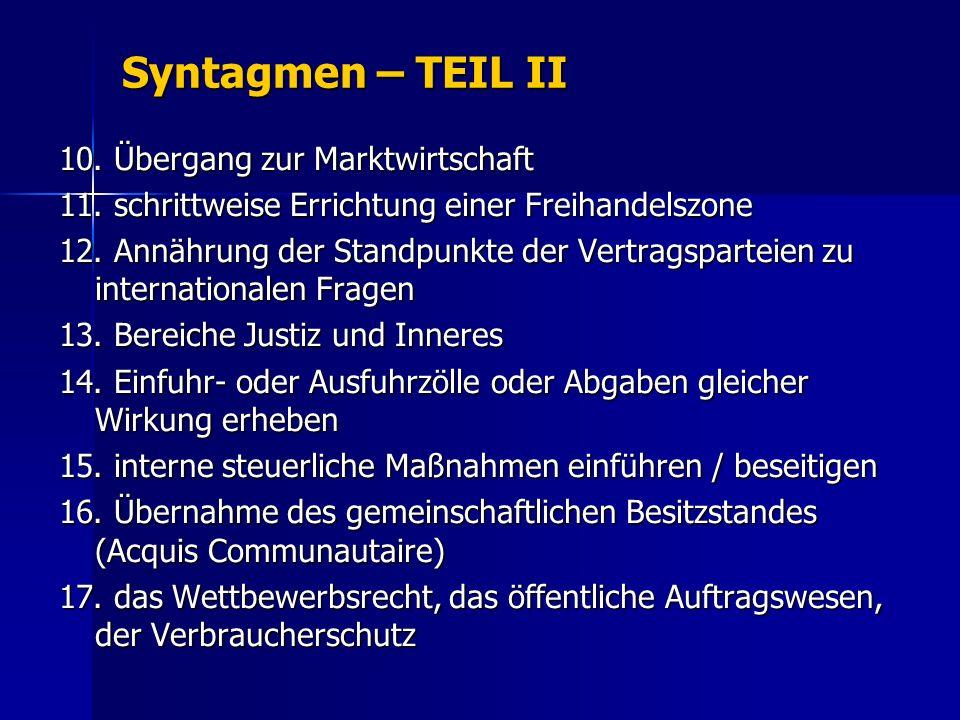 Syntagmen – TEIL II 10.Übergang zur Marktwirtschaft 11.