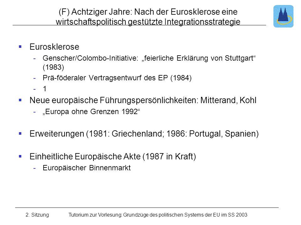 2. SitzungTutorium zur Vorlesung: Grundzüge des politischen Systems der EU im SS 2003 (F) Achtziger Jahre: Nach der Eurosklerose eine wirtschaftspolit