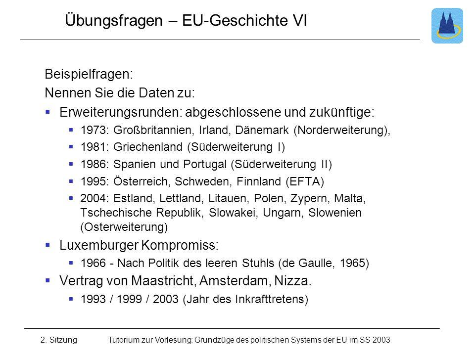 2. SitzungTutorium zur Vorlesung: Grundzüge des politischen Systems der EU im SS 2003 Übungsfragen – EU-Geschichte VI Beispielfragen: Nennen Sie die D