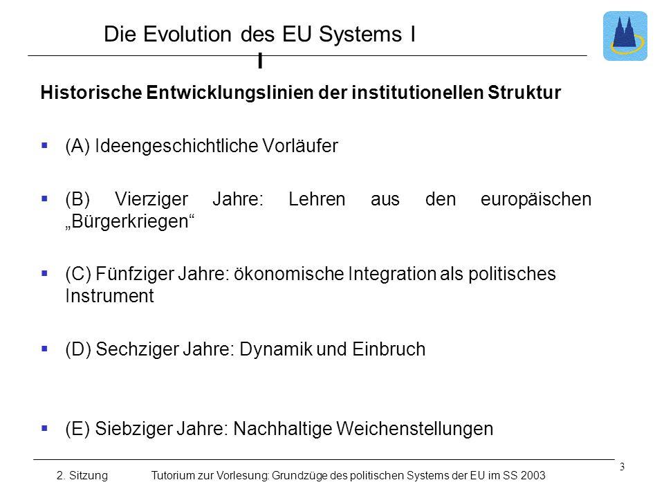 2. SitzungTutorium zur Vorlesung: Grundzüge des politischen Systems der EU im SS 2003 Die Evolution des EU Systems I I Historische Entwicklungslinien