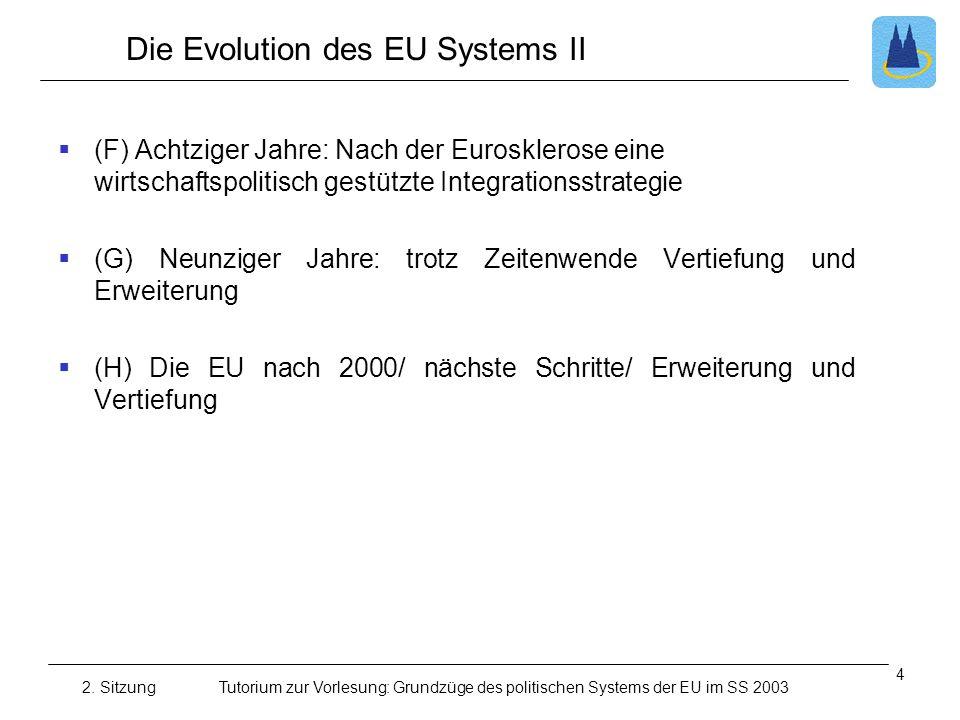 2. SitzungTutorium zur Vorlesung: Grundzüge des politischen Systems der EU im SS 2003 Die Evolution des EU Systems II (F) Achtziger Jahre: Nach der Eu