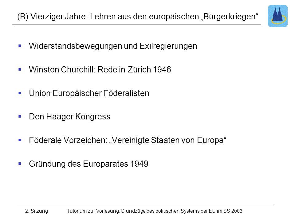 2. SitzungTutorium zur Vorlesung: Grundzüge des politischen Systems der EU im SS 2003 (B) Vierziger Jahre: Lehren aus den europäischen Bürgerkriegen W