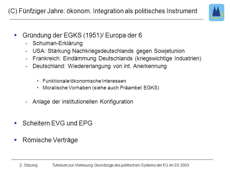 2. SitzungTutorium zur Vorlesung: Grundzüge des politischen Systems der EU im SS 2003 (C) Fünfziger Jahre: ökonom. Integration als politisches Instrum