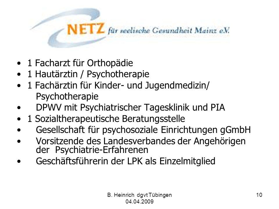 B. Heinrich dgvt Tübingen 04.04.2009 10 1 Facharzt für Orthopädie 1 Hautärztin / Psychotherapie 1 Fachärztin für Kinder- und Jugendmedizin/ Psychother