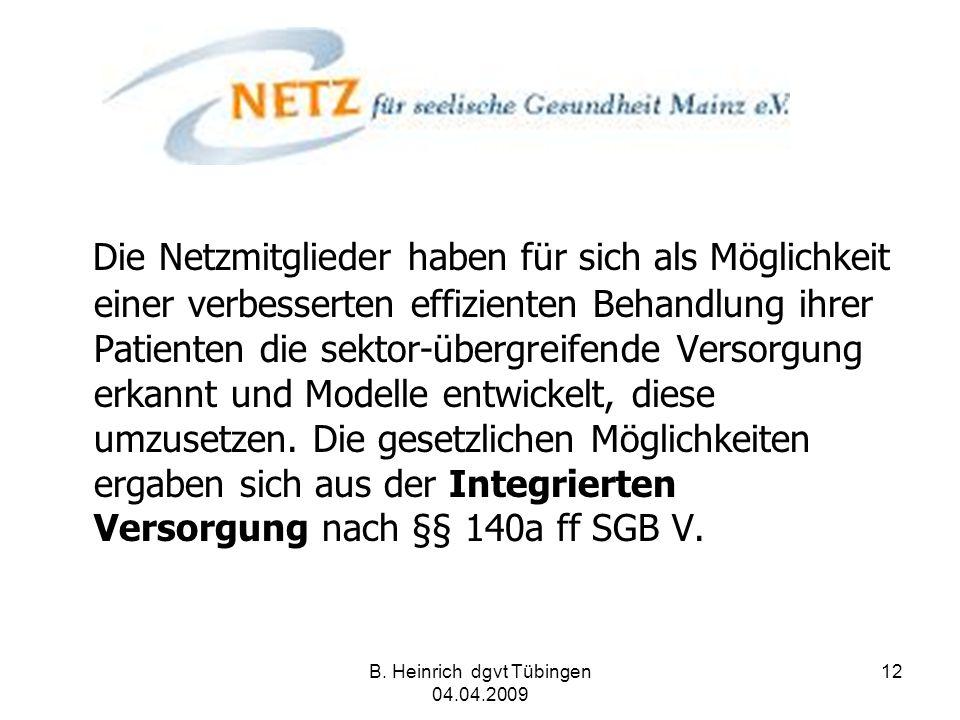 B. Heinrich dgvt Tübingen 04.04.2009 12 Die Netzmitglieder haben für sich als Möglichkeit einer verbesserten effizienten Behandlung ihrer Patienten di