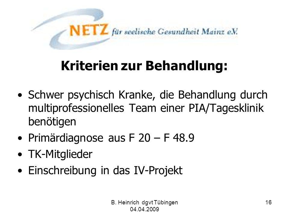 B. Heinrich dgvt Tübingen 04.04.2009 16 Kriterien zur Behandlung: Schwer psychisch Kranke, die Behandlung durch multiprofessionelles Team einer PIA/Ta