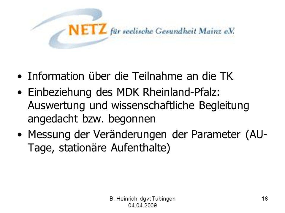 B. Heinrich dgvt Tübingen 04.04.2009 18 Information über die Teilnahme an die TK Einbeziehung des MDK Rheinland-Pfalz: Auswertung und wissenschaftlich