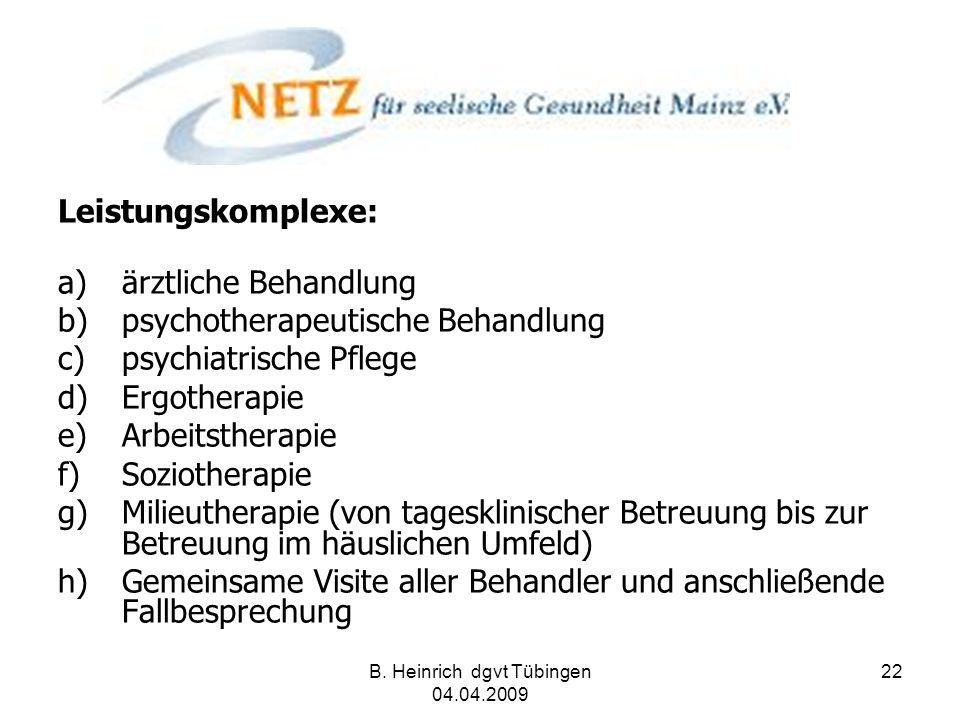 B. Heinrich dgvt Tübingen 04.04.2009 22 Leistungskomplexe: a)ärztliche Behandlung b)psychotherapeutische Behandlung c)psychiatrische Pflege d)Ergother