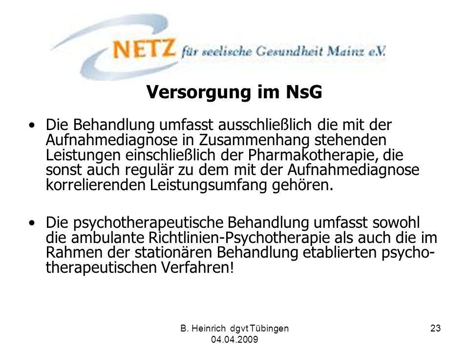 B. Heinrich dgvt Tübingen 04.04.2009 23 Versorgung im NsG Die Behandlung umfasst ausschließlich die mit der Aufnahmediagnose in Zusammenhang stehenden