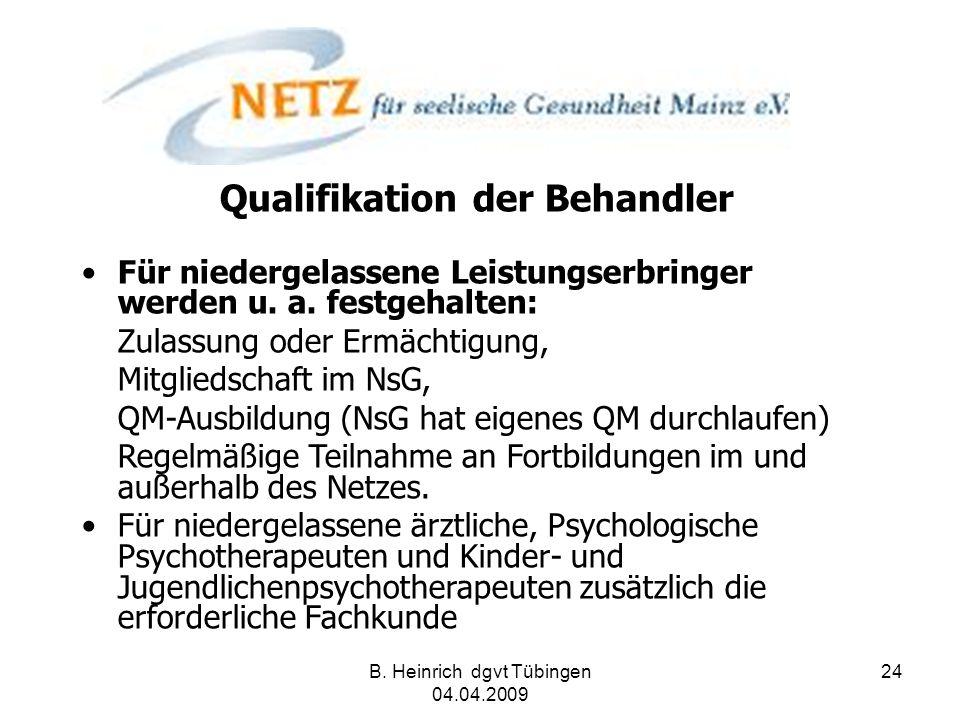 B. Heinrich dgvt Tübingen 04.04.2009 24 Qualifikation der Behandler Für niedergelassene Leistungserbringer werden u. a. festgehalten: Zulassung oder E