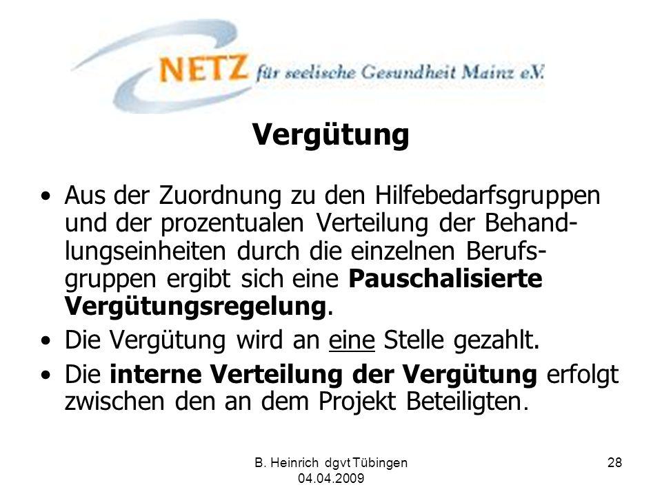 B. Heinrich dgvt Tübingen 04.04.2009 28 Vergütung Aus der Zuordnung zu den Hilfebedarfsgruppen und der prozentualen Verteilung der Behand- lungseinhei