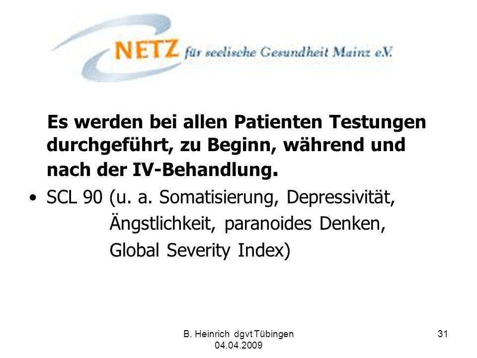 B. Heinrich dgvt Tübingen 04.04.2009 31 Es werden bei allen Patienten Testungen durchgeführt, zu Beginn, während und nach der IV-Behandlung. SCL 90 (u