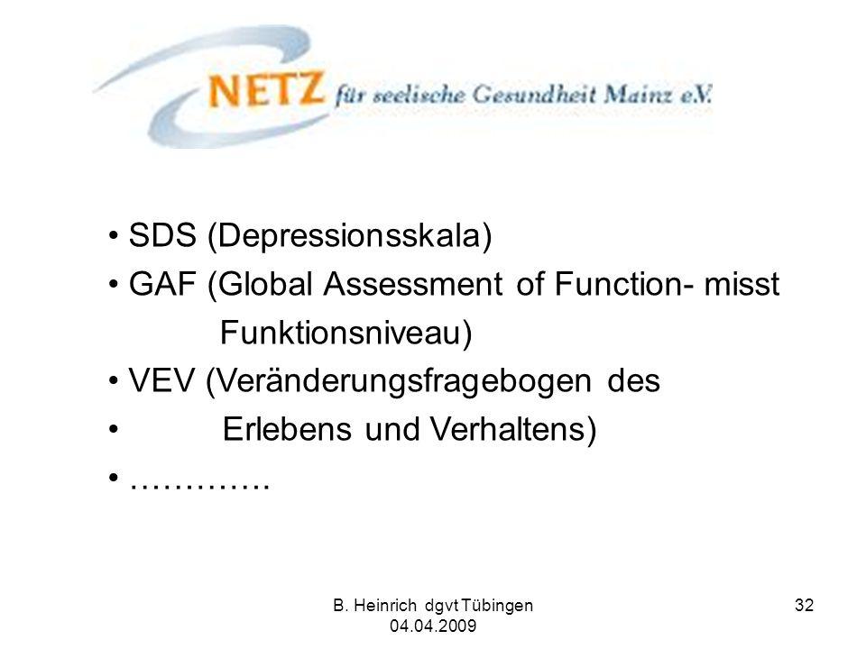 B. Heinrich dgvt Tübingen 04.04.2009 32 SDS (Depressionsskala) GAF (Global Assessment of Function- misst Funktionsniveau) VEV (Veränderungsfragebogen
