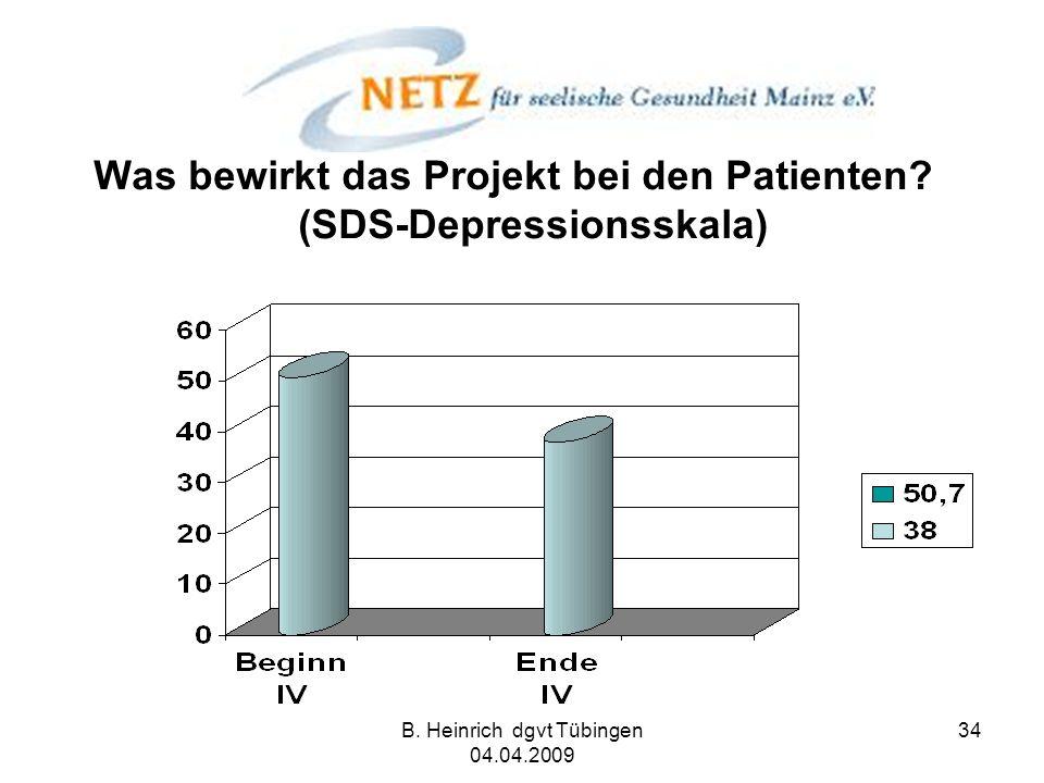 B. Heinrich dgvt Tübingen 04.04.2009 34 Was bewirkt das Projekt bei den Patienten? (SDS-Depressionsskala)