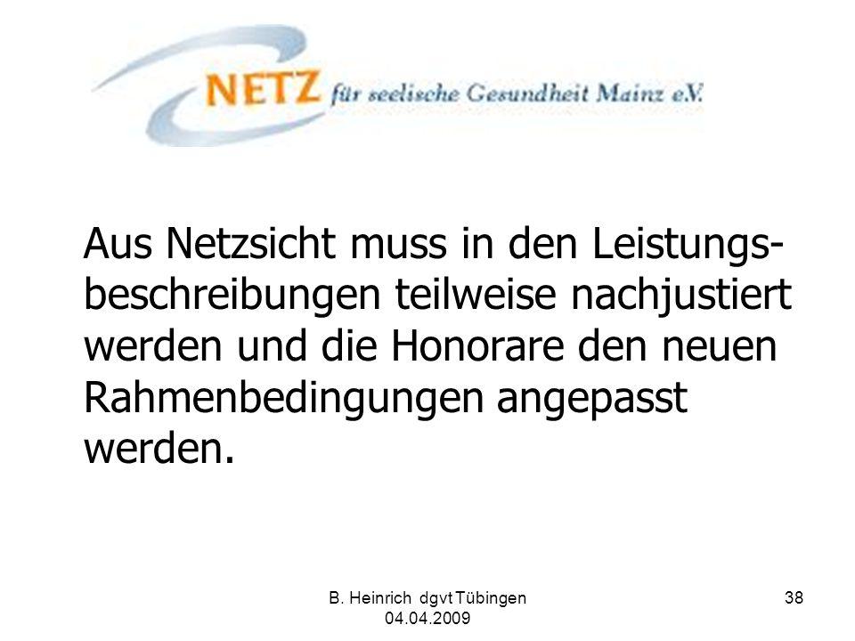 B. Heinrich dgvt Tübingen 04.04.2009 38 Aus Netzsicht muss in den Leistungs- beschreibungen teilweise nachjustiert werden und die Honorare den neuen R