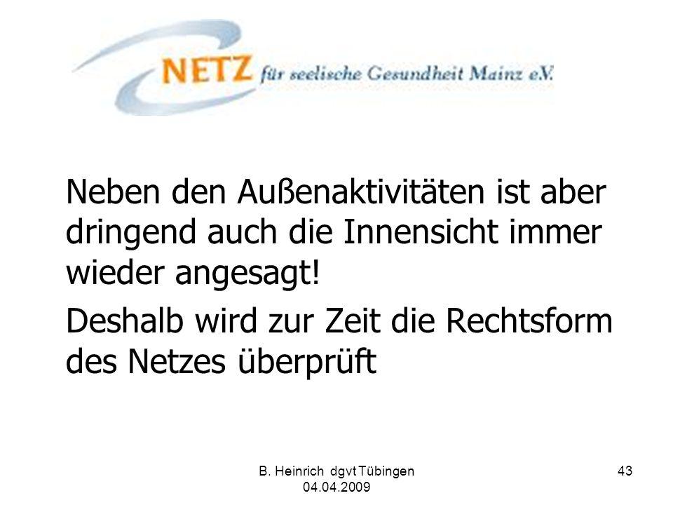 B. Heinrich dgvt Tübingen 04.04.2009 43 Neben den Außenaktivitäten ist aber dringend auch die Innensicht immer wieder angesagt! Deshalb wird zur Zeit