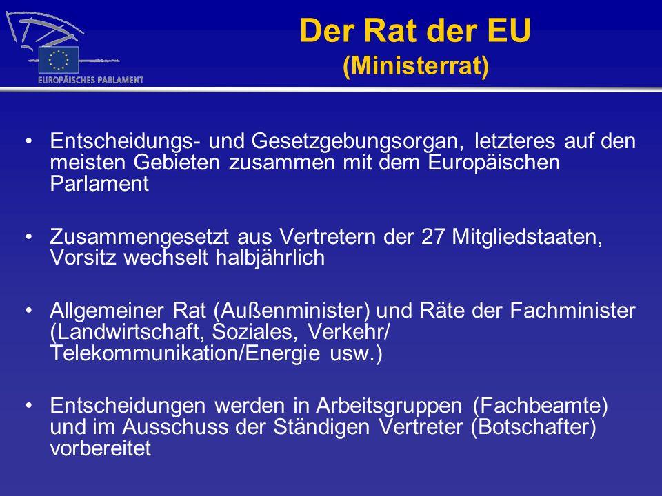 Der Rat der EU (Ministerrat) Entscheidungs- und Gesetzgebungsorgan, letzteres auf den meisten Gebieten zusammen mit dem Europäischen Parlament Zusamme