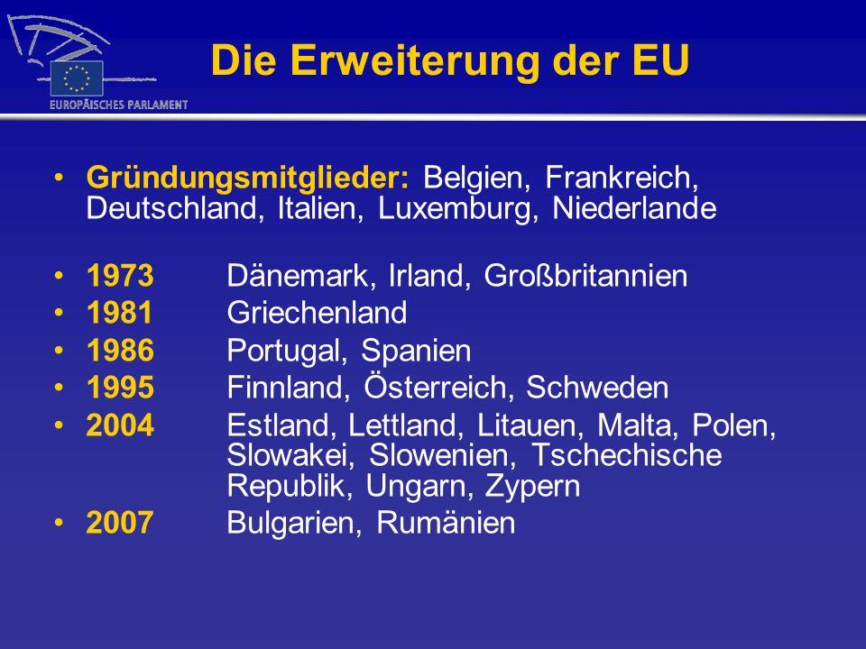 Die Erweiterung der EU Gründungsmitglieder: Belgien, Frankreich, Deutschland, Italien, Luxemburg, Niederlande 1973 Dänemark, Irland, Großbritannien 19