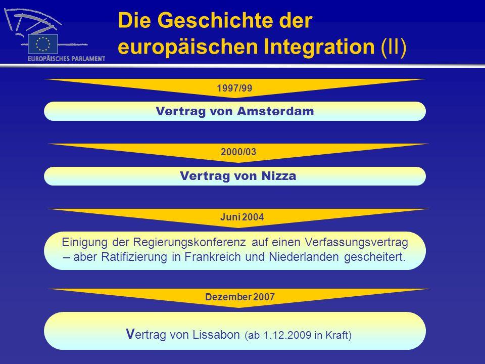 Die Geschichte der europäischen Integration (II) 1997/99 Vertrag von Amsterdam 2000/03 Vertrag von Nizza Juni 2004 Einigung der Regierungskonferenz au