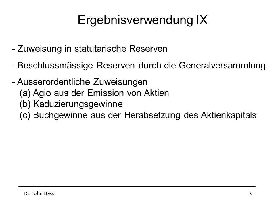 Dr. John Hess9 Ergebnisverwendung IX - Zuweisung in statutarische Reserven - Beschlussmässige Reserven durch die Generalversammlung - Ausserordentlich