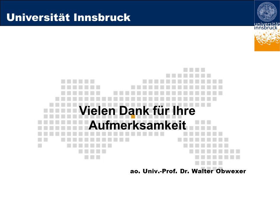 Universität Innsbruck ao. Univ.-Prof. Dr. Walter Obwexer Vielen Dank für Ihre Aufmerksamkeit