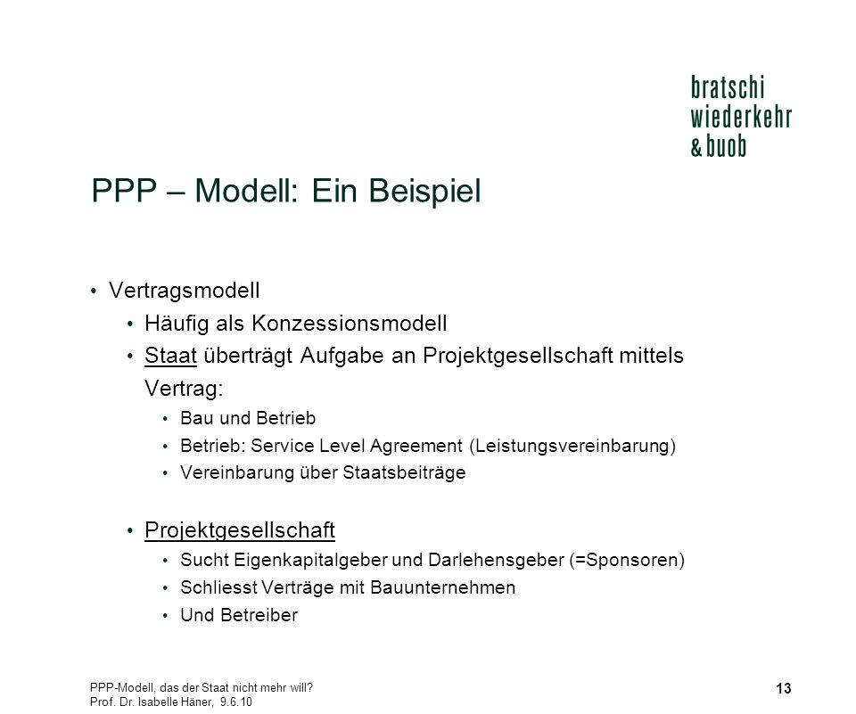 PPP-Modell, das der Staat nicht mehr will? Prof. Dr. Isabelle Häner, 9.6.10 13 PPP – Modell: Ein Beispiel Vertragsmodell Häufig als Konzessionsmodell