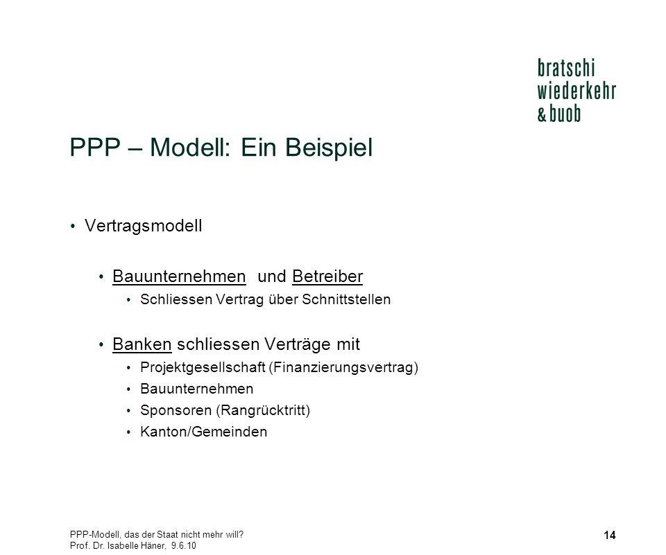 PPP-Modell, das der Staat nicht mehr will? Prof. Dr. Isabelle Häner, 9.6.10 14 PPP – Modell: Ein Beispiel Vertragsmodell Bauunternehmen und Betreiber