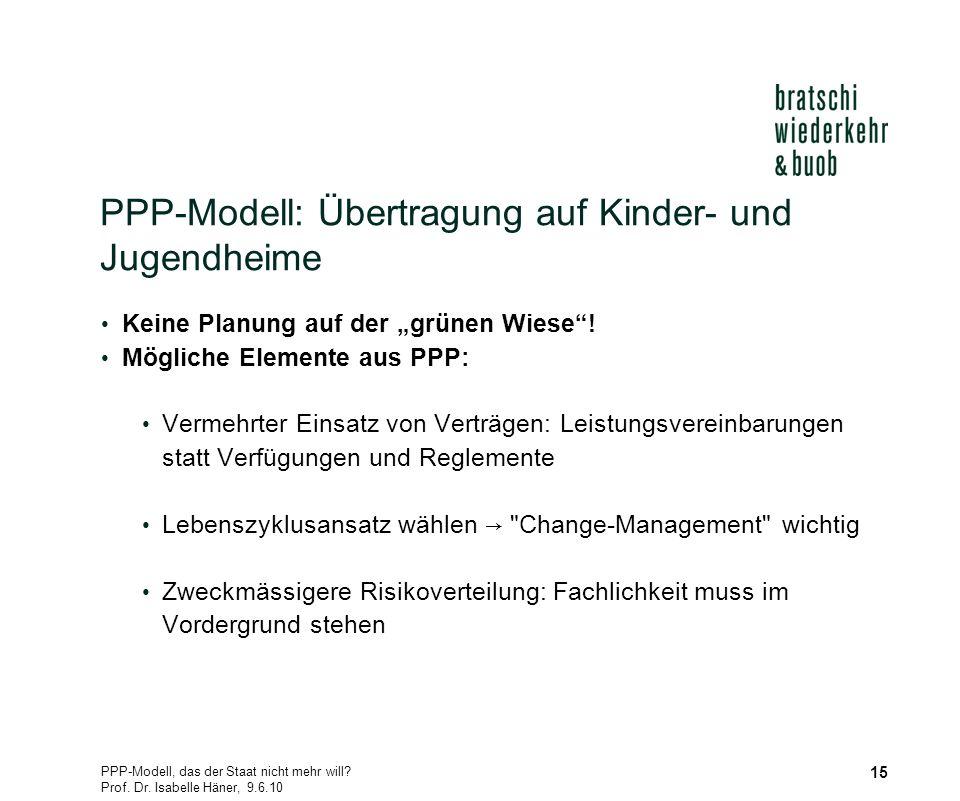 PPP-Modell, das der Staat nicht mehr will? Prof. Dr. Isabelle Häner, 9.6.10 15 PPP-Modell: Übertragung auf Kinder- und Jugendheime Keine Planung auf d