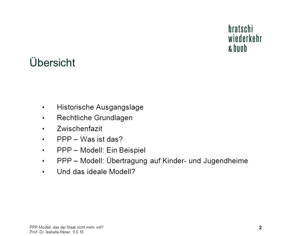 PPP-Modell, das der Staat nicht mehr will? Prof. Dr. Isabelle Häner, 9.6.10 2 Übersicht Historische Ausgangslage Rechtliche Grundlagen Zwischenfazit P