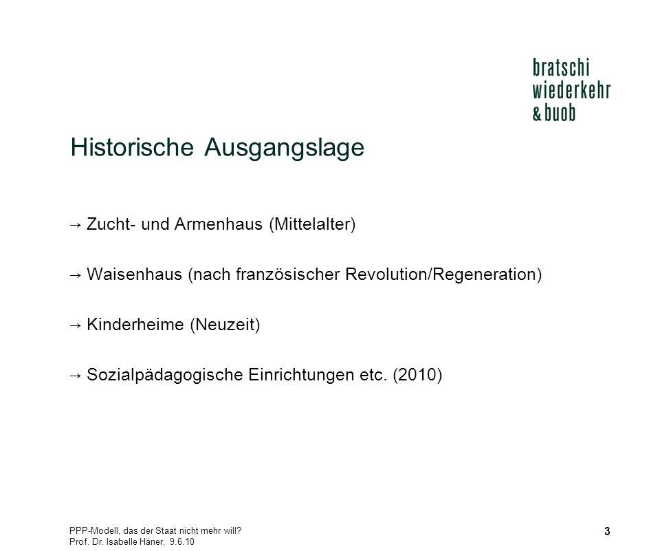 PPP-Modell, das der Staat nicht mehr will? Prof. Dr. Isabelle Häner, 9.6.10 3 Historische Ausgangslage Zucht- und Armenhaus (Mittelalter) Waisenhaus (