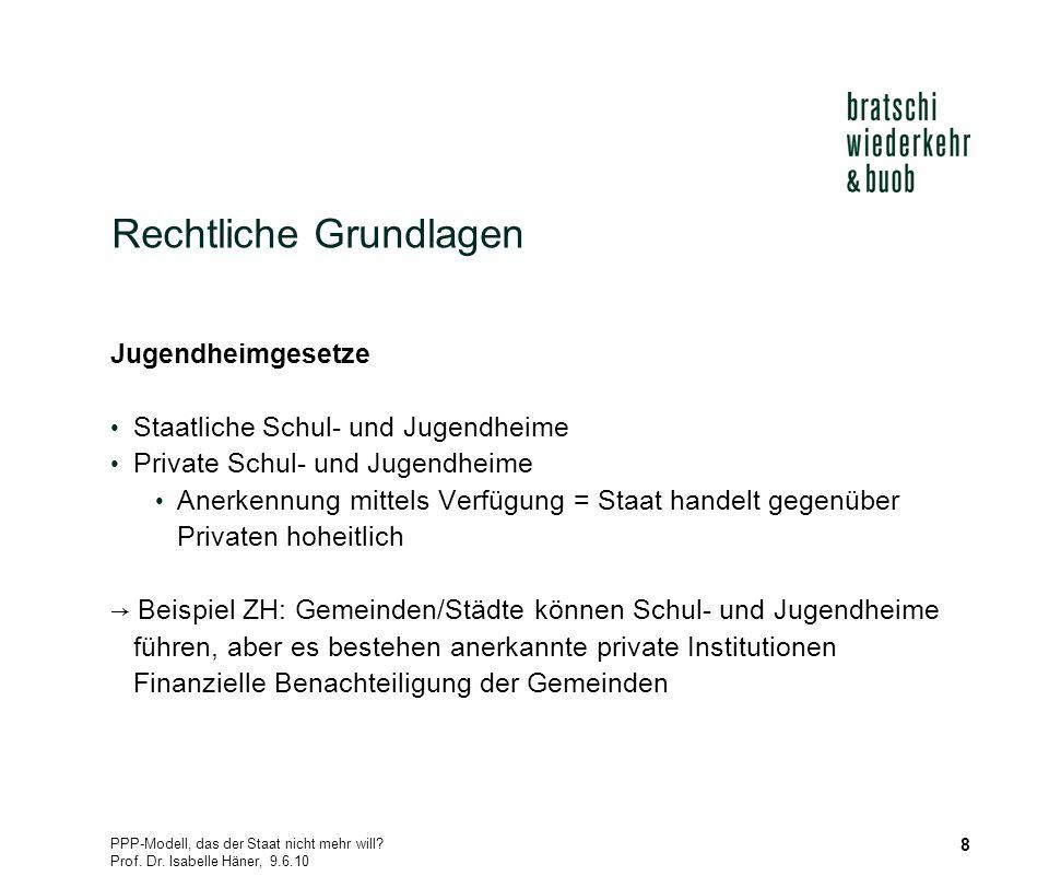 PPP-Modell, das der Staat nicht mehr will? Prof. Dr. Isabelle Häner, 9.6.10 8 Rechtliche Grundlagen Jugendheimgesetze Staatliche Schul- und Jugendheim