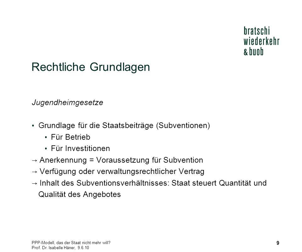 PPP-Modell, das der Staat nicht mehr will? Prof. Dr. Isabelle Häner, 9.6.10 9 Rechtliche Grundlagen Jugendheimgesetze Grundlage für die Staatsbeiträge