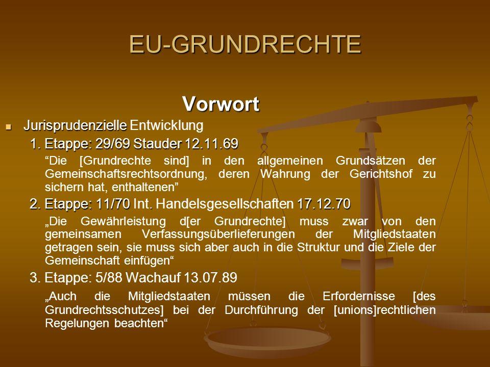 EU-GRUNDRECHTE Vorwort Jurisprudenzielle Jurisprudenzielle Entwicklung 1. Etappe: 29/69 Stauder 12.11.69 Die [Grundrechte sind] in den allgemeinen Gru