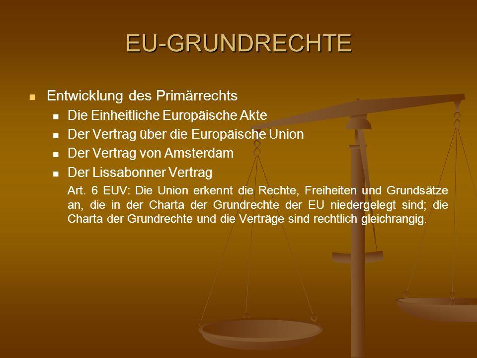 EU-GRUNDRECHTE Entwicklung des Primärrechts Die Einheitliche Europäische Akte Der Vertrag über die Europäische Union Der Vertrag von Amsterdam Der Lis