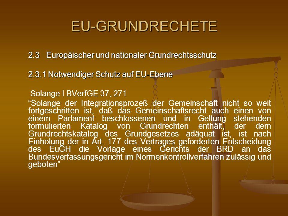 EU-GRUNDRECHETE Solange II BVerfGE 73, 339 Solange die Europäischen Gemeinschaften, insbesondere die Rechtsprechung des Gerichtshofs der Gemeinschaften einen wirksamen Schutz der Grundrechte gegenüber der Hoheitsgewalt der Gemeinschaften generell gewährleisten, der dem vom Grundgesetz als unabdingbar gebotenen Grundrechtsschutz im wesentlichen gleichzuachten ist, zumal den Wesensgehalt der Grundrechte generell verbürgt, wird das Bundesverfassungsgericht seine Gerichtsbarkeit über die Anwendbarkeit von abgeleitetem Gemeinschaftsrecht, das als Rechtsgrundlage für ein Verhalten deutscher Gerichte und Behörden im Hoheitsbereich der Bundesrepublik Deutschland in Anspruch genommen wird, nicht mehr ausüben und dieses Recht mithin nicht mehr am Maßstab der Grundrechte des Grundgesetzes überprüfen
