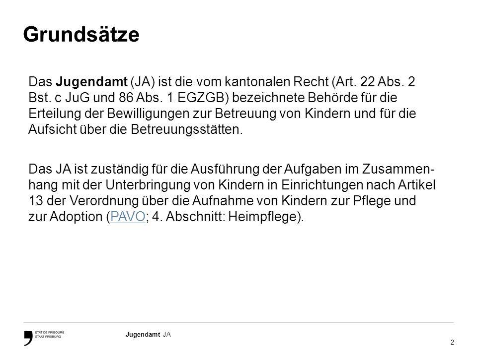 2 Jugendamt JA Grundsätze Das Jugendamt (JA) ist die vom kantonalen Recht (Art.