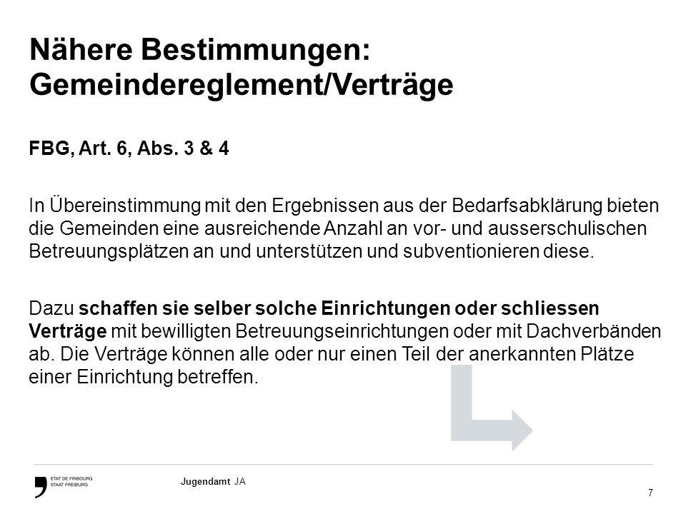 7 Jugendamt JA Nähere Bestimmungen: Gemeindereglement/Verträge FBG, Art.