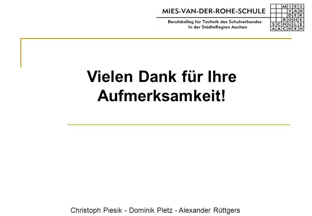 Christoph Piesik - Dominik Pletz - Alexander Rüttgers Vielen Dank für Ihre Aufmerksamkeit!