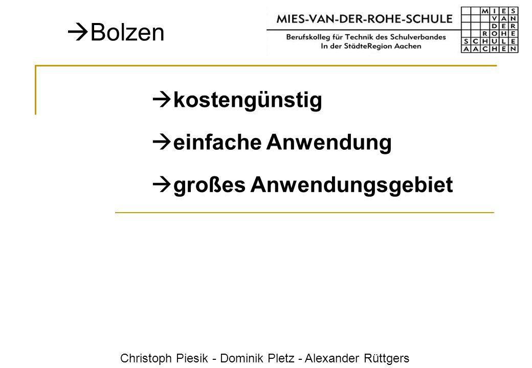 Christoph Piesik - Dominik Pletz - Alexander Rüttgers Bolzen kostengünstig einfache Anwendung großes Anwendungsgebiet
