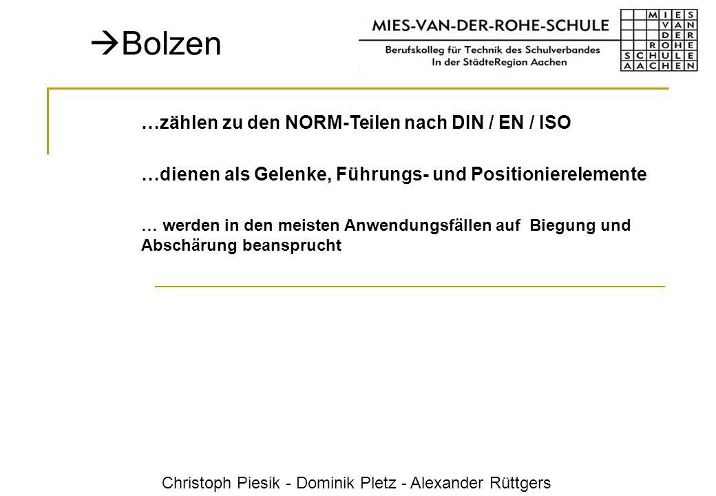 Christoph Piesik - Dominik Pletz - Alexander Rüttgers Bolzen …zählen zu den NORM-Teilen nach DIN / EN / ISO …dienen als Gelenke, Führungs- und Positio