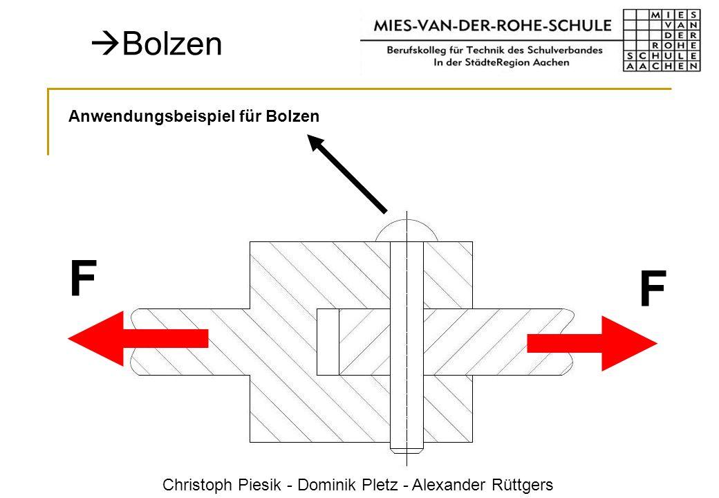 Christoph Piesik - Dominik Pletz - Alexander Rüttgers Bolzen F F Anwendungsbeispiel für Bolzen