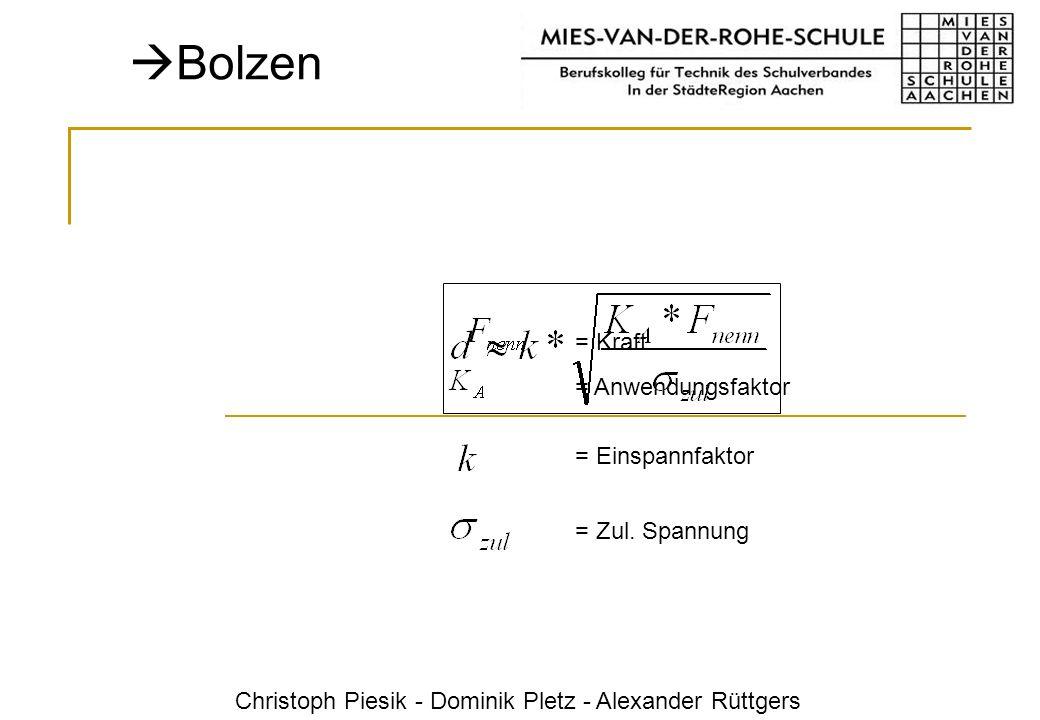 Christoph Piesik - Dominik Pletz - Alexander Rüttgers Bolzen = Anwendungsfaktor = Kraft = Einspannfaktor = Zul. Spannung