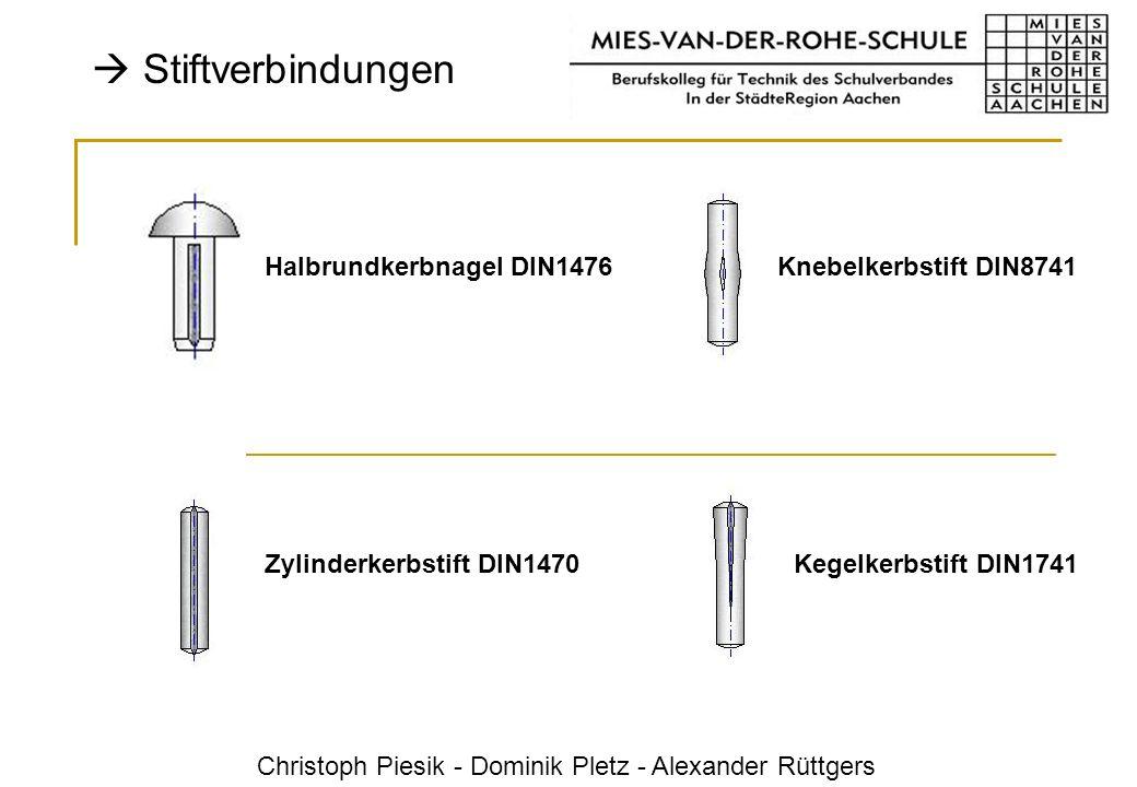 Christoph Piesik - Dominik Pletz - Alexander Rüttgers Stiftverbindungen Halbrundkerbnagel DIN1476Knebelkerbstift DIN8741 Zylinderkerbstift DIN1470Kege