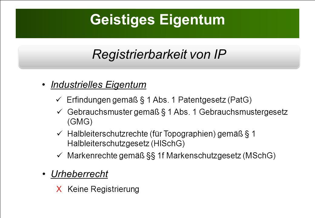 IP - Gesetzliche Schutzrechtsfähigkeit Schutzdauer: 20 Jahre § 1 Abs.