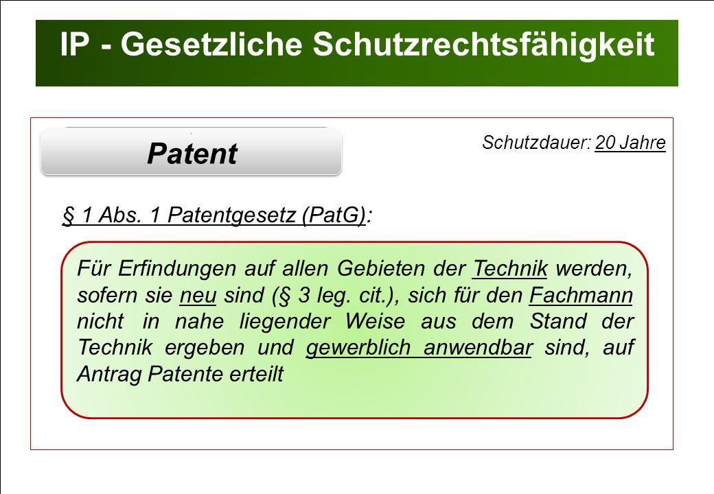 IP - Gesetzliche Schutzrechtsfähigkeit Schutzdauer: 10 Jahre § 1 Abs.
